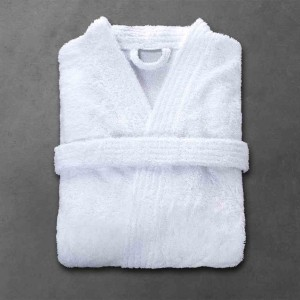 a09d9cc00b0f3 Peignoir BOUCLE INTIRABLE taille 3/M, col kimono, blanc, 90% coton 10%  polyester, 360 g/m²