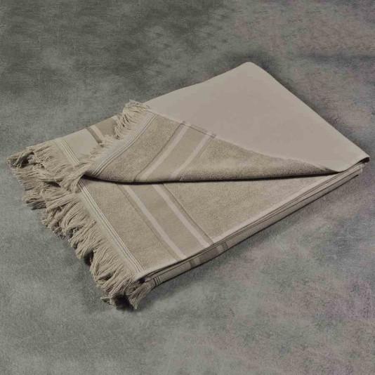 serviette de plage fouta coloris nougat avec liteaux 100. Black Bedroom Furniture Sets. Home Design Ideas