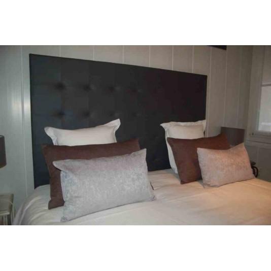t te de lit matelass e tango coloris fum e tissu douceur l900 x h1200 mm. Black Bedroom Furniture Sets. Home Design Ideas