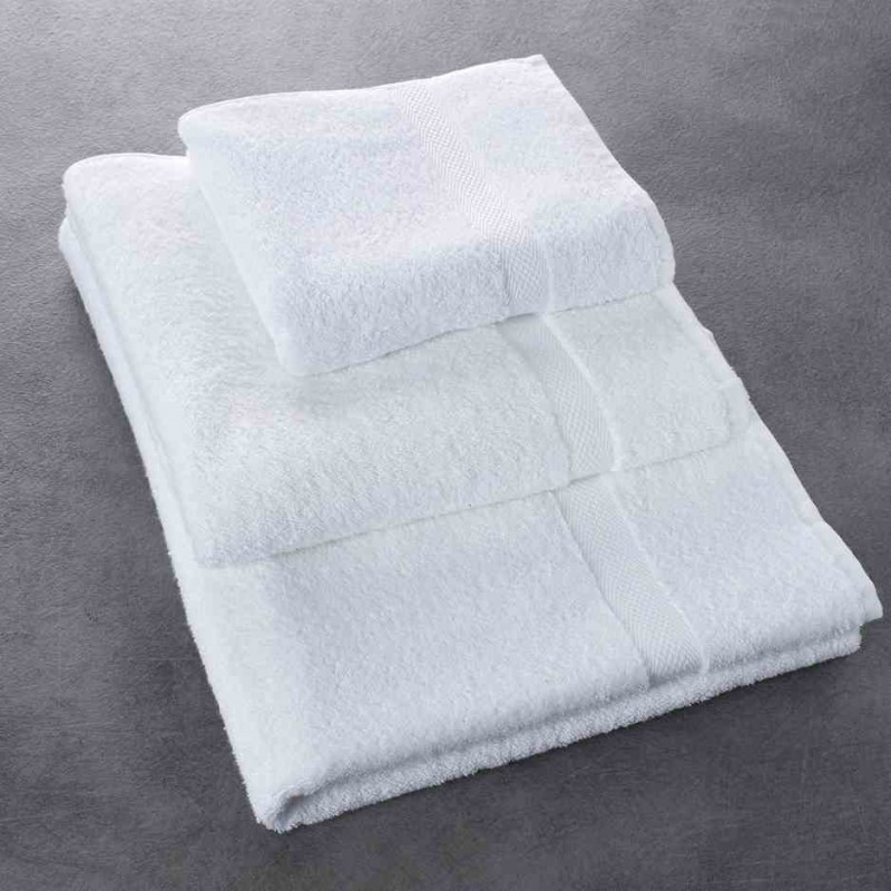serviette de bain luxe blanc 100 coton 500 g m 50x100 cm. Black Bedroom Furniture Sets. Home Design Ideas