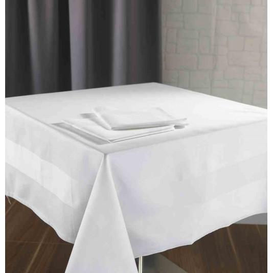 Nappe satin bande satin blanche 215g m 100 coton - Serviette de table blanche ...
