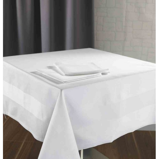 nappe satin bande satin blanche 215g m 100 coton 140x190 cm. Black Bedroom Furniture Sets. Home Design Ideas